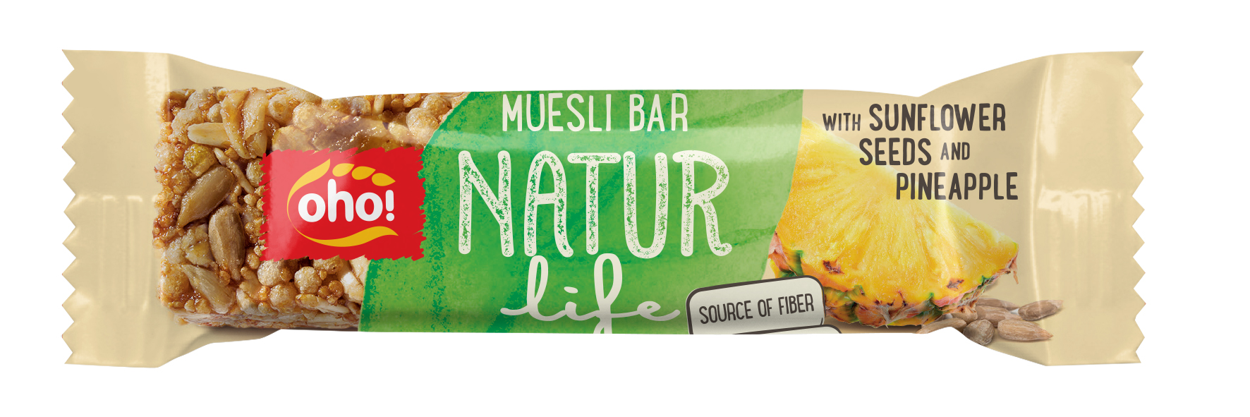 Muesli bar Natur life with sunflower seeds and pineaples