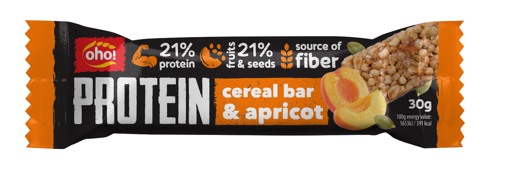 Crunchy protein bar with apricot pieces and pumpkin seeds