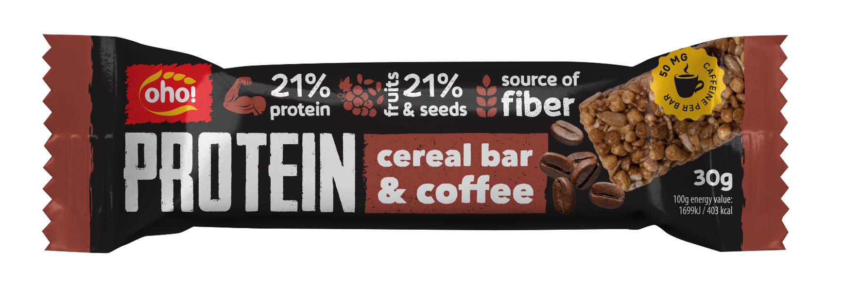 Crunchy protein bar with coffe extract, raisins and sunflower seeds